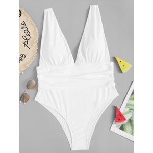 Other - Plus Ruched V-plunge One Piece Swimsuit